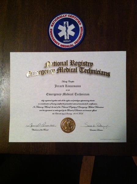 Jerard Linnemann Completes EMT Certification - Thorndale Fire Company