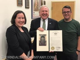 Senator Rafferty presents citation to Caln Twp. Commissioners Jennifer Breton and Josh Young